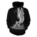 Cool Unique Skull Angel 3D Printing Loose Relaxed Black Hoodie