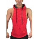 Stylish Ink Dot Printed Sleeveless Cotton Basketball Running Fitness Hoodie for Guys
