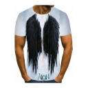 Creative Cool 3D Angel Wing Pattern Mens Casual Short Sleeve White T-Shirt