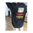 PROTEST AND SURVIVE Letter Street Cool Summer Oversized Graphic Tee