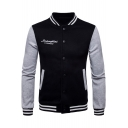 Unisex Letter Embroidered Long Sleeve Stand Collar Colorblock Button Closure Baseball Jacket