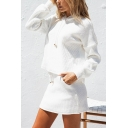 Hot Fashion White Drawstring Hoodie Mini Skirt Simple Plain Two-Piece Set