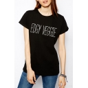 Fashion Street Letter EDGY VEGGIE Pattern Round Neck Short Sleeve Cotton Loose T-Shirt