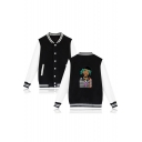 Funny Portrait Printed Rib Collar Long Sleeve Button Front Baseball Jacket