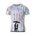 Unique 3D Splash Ink Love Couple Printed Short Sleeve Basic Fitted T-Shirt