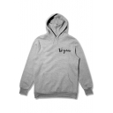Simple Letter VEGAN Pattern Relaxed Fit Long Sleeve Pullover Grey Hoodie