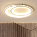White Circular Surface Mount Light Contemporary Acrylic Flush Light in Integrated LED for Dining Room