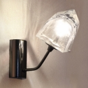 1/2 Light Gem Wall Lamp Modern Fashion Clear Glass Shade Art Deco Ambient Lighting Fixture in Black