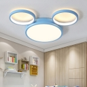Acrylic Round LED Ceiling Light with Cartoon Mouse Boys Girls Room Flush Mount in Blue/Pink