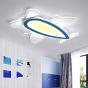 Boys Bedroom Prop Plane Flush Light Nordic Style Decorative Acrylic LED Flush Ceiling Light in Blue