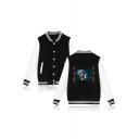Fashion Pattern Rib Stand Collar Long Sleeve Button Front Baseball Jacket