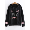 Cartoon Cat Letter MEOW Pattern Loose Casual Long Sleeve Hoodie for Juniors