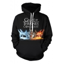 Game of Thrones Cool Crown Pattern Sport Casual Long Sleeve Black Hoodie