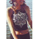 Fashion Simple Floral Totem Printed Round Neck Sleeveless Cropped Tank Top
