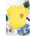 Cute Pocket Sloth Summer Basic Round Neck Short Sleeve Cotton T-Shirt