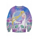 Sailor Moon Fashion 3D Galaxy Printed Basic Long Sleeve Regular-Fit Blue Sweatshirt