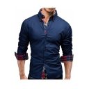 Men's Cool Unique Button Front Plaid Patched Long Sleeve Slim Fit Shirt