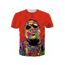 American Rapper Cool 3D Painting Figure Short Sleeve Orange T-Shirt