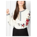 New Trendy Round Neck Chic Floral Printed Long Sleeve Pullover Blouse