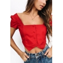 Popular Square Neck Short Sleeves Button Front Asymmetrical Hem Cropped Blouse