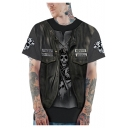 New Stylish 3D Skull Jacket Printed Grey Round Neck Short Sleeve Casual T-Shirt
