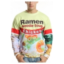 New Fashion Italy Noodles Printed Round Neck Long Sleeve Pullover Sweatshirt