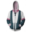 Cool 3D Colorblock Cosplay Costume Full Zip Fitted White Hoodie