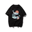 Big fish Begonia Fashion Printed Summer Basic Loose Casual Cotton T-Shirt