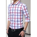 Mens New Stylish Plaid Pattern Long Sleeve Cotton Button-Up Slim Fit Shirt