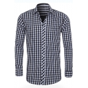 New Stylish Plaid Printed Spread Collar Long Sleeve Button-Up Cotton Casual Shirt for Men