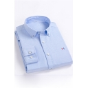 Men's New Trendy Stripe Patched Simple Plain Long Sleeve Casual Button-Down Cotton Shirt