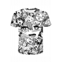 Ahegao 3D Comic Girl Printed Round Neck Loose Fit Black T-Shirt