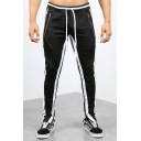 Mens Trendy Zip-Pocket Drawstring Waist Stripe Side Sport Fitness Track Pants