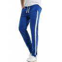 Mens Simple Colorblocked Side Drawstring Waist Casual Cotton Track Pants