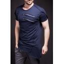 Men's Summer New Trendy Multi-Zip Embellished Plain Short Sleeve Asymmetric Hem Hip Hop Fitted T-Shirt