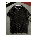 Mens Fashion Polka Dot Printed Contrast Trim Short Sleeve Cotton Polo Shirt