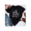 Street Fashion Letter YOU SEE MY SUN Printed Short Sleeve Basic Black T-Shirt