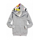 New Fashion Cool Shark Head Printed Long Sleeve Unisex Casual Zip Up Hoodie