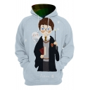 Harry Potter Trendy 3D Comic Character Printed Long Sleeve Light Blue Drawstring Hoodie