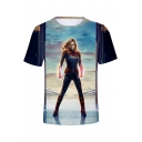 Cool 3D Film Figure Printed Short Sleeve Casual T-Shirt