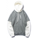 New Fashion Patched Long Sleeve Loose Oversized Grey Hoodie
