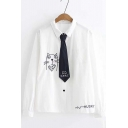 Cute Cartoon Cat Printed Tied Collar Long Sleeve Basic White Cotton Shirt