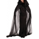 Cosplay Halloween Series Plain Slim Maxi Dress with Tunic Hooded Cape Co-ords
