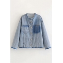 Collarless Button Down Long Sleeve Denim Coat