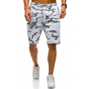 Classic Fashion Camo Print Drawstring-Waist Zip Pocket Loose Fit Mesh Athletic Shorts for Men