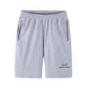 Simple Letter WOLF INHERITANCE Print Guys Summer Straight-Leg Cotton Loose Athletic Sweat Shorts