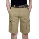Summer Mens Casual Simple Plain Cotton Military Shorts Cargo Shorts