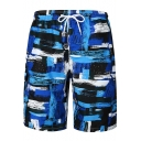 Blue Casual Printed Pocket Loose Relaxed Drawcord Beach Shorts for Men