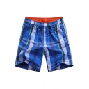 Fast Drying Color Plaid Elastic Waist Cotton Casual Loose Mens Summer Swim Shorts