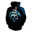 Snake Skull 3D Horror Pattern Long Sleeve Pullover Relaxed Blue Hoodie